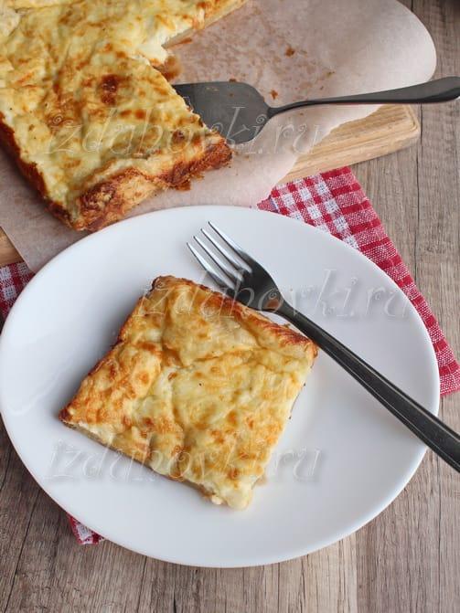 Пирог с сыром из слоеного теста открытый