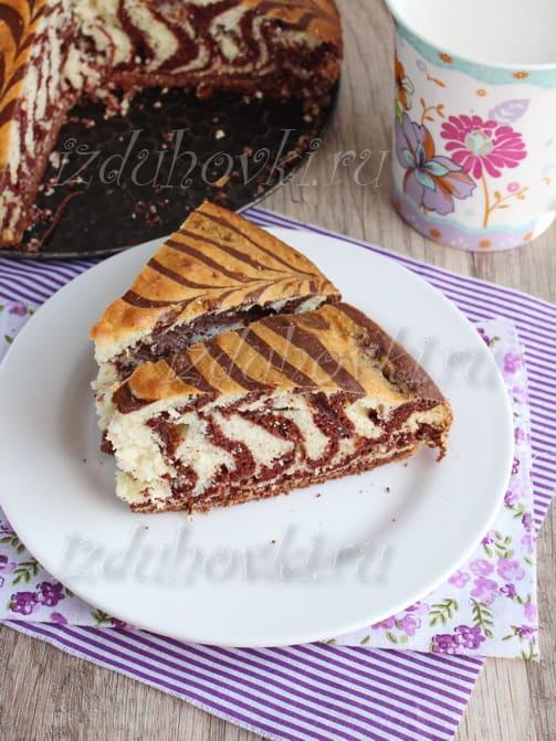 Зебра из кефира пирог рецепт с пошагово