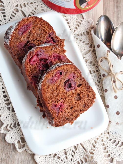 Шоколадный кекс с вишней рецепт с фото
